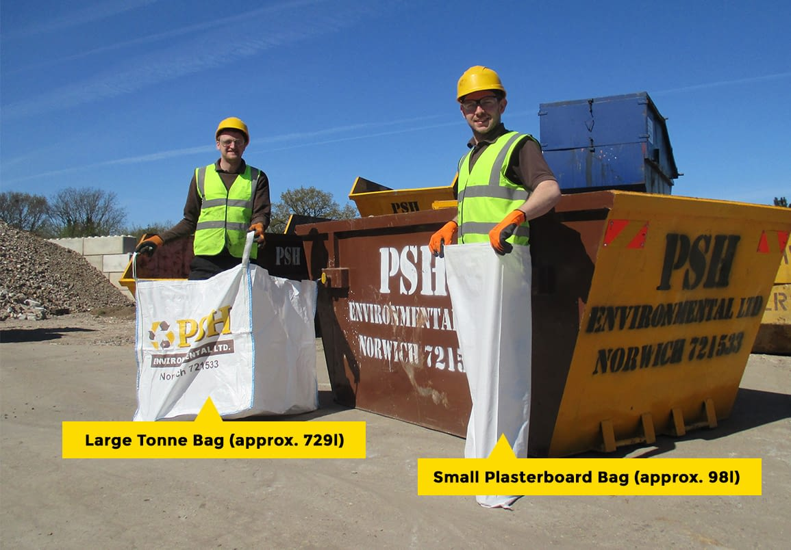 Small plasterboard bag and large tonne bag available with skips